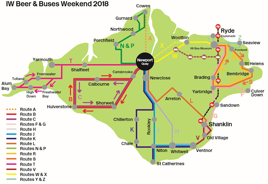 classic beer and buses route map